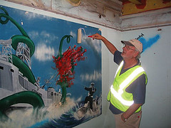 ex HMAS Canberra mess mural protective coatings