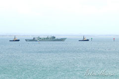 ex HMAS Canberra passing Clifton Springs on tow to the scuttling site